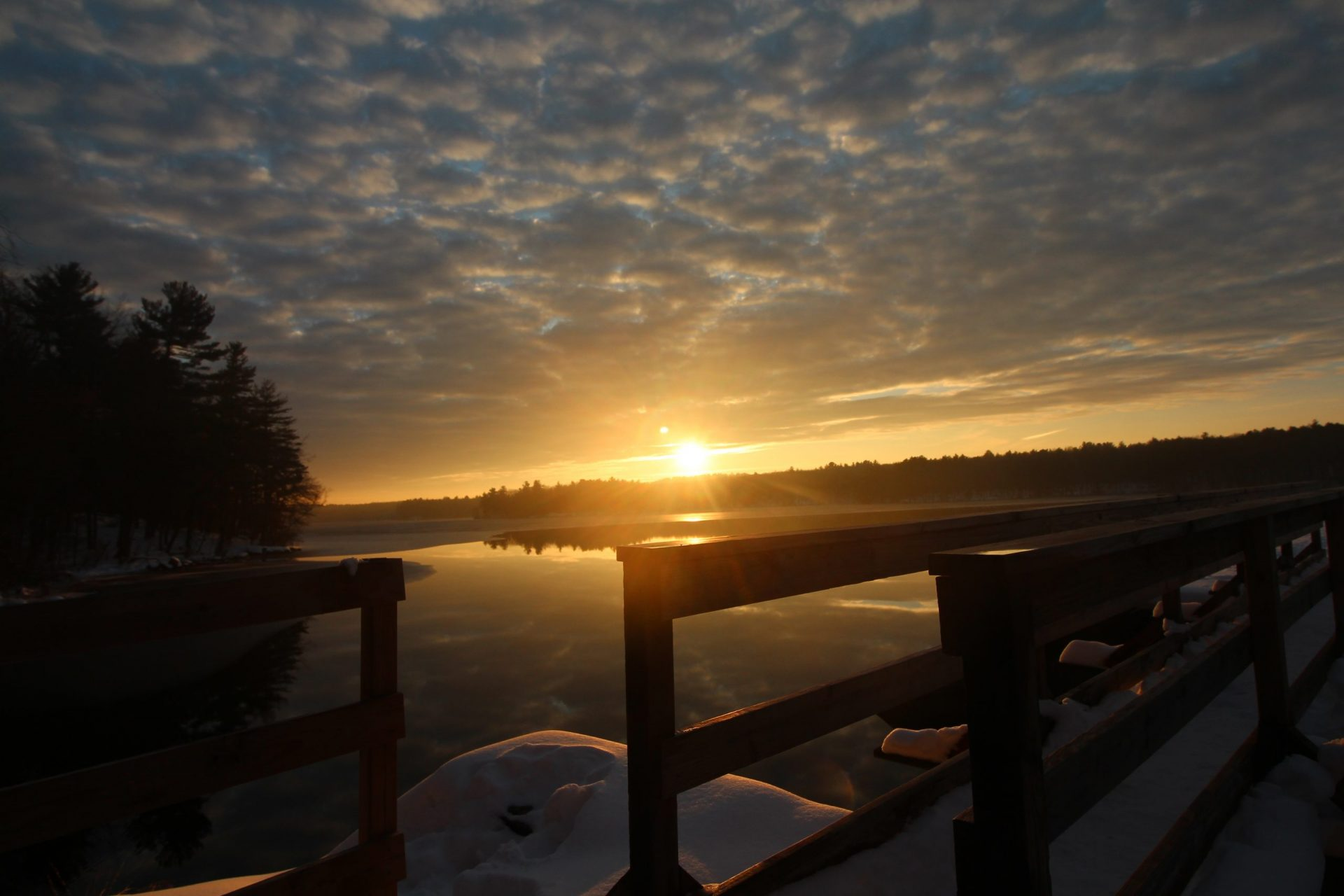Sunset from pedestrian bridge - Ashland Dam - December 2020