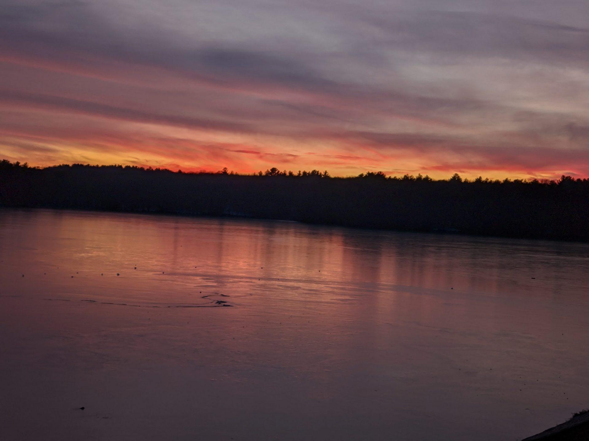 Christmas sunset on frozen Ashland Reservoir 2019