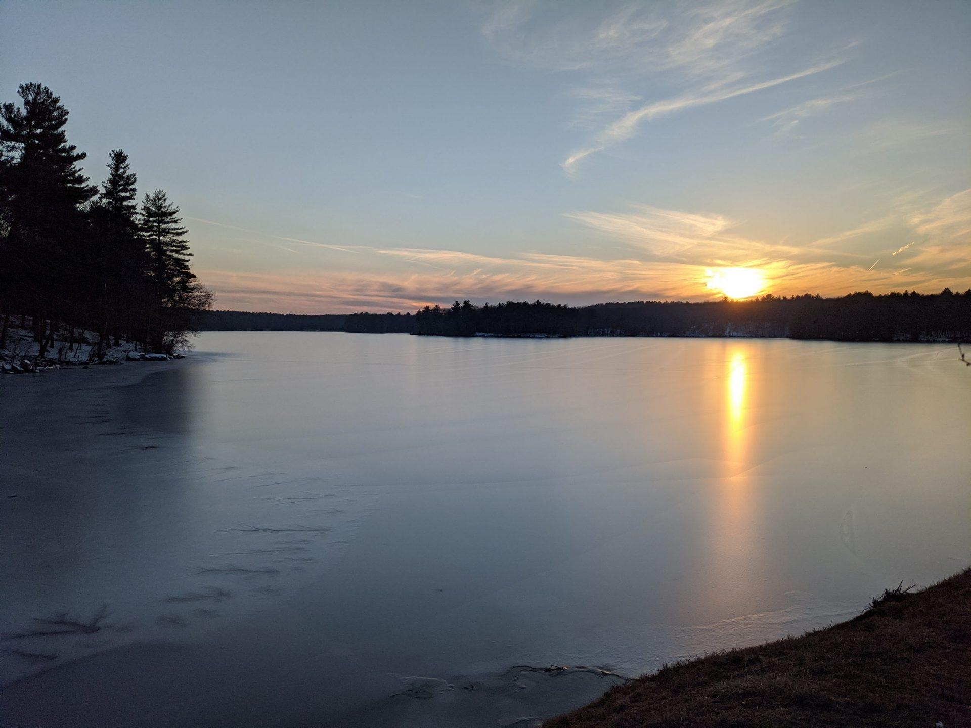 Sunset on ice - Ashland Reservoir January 2020