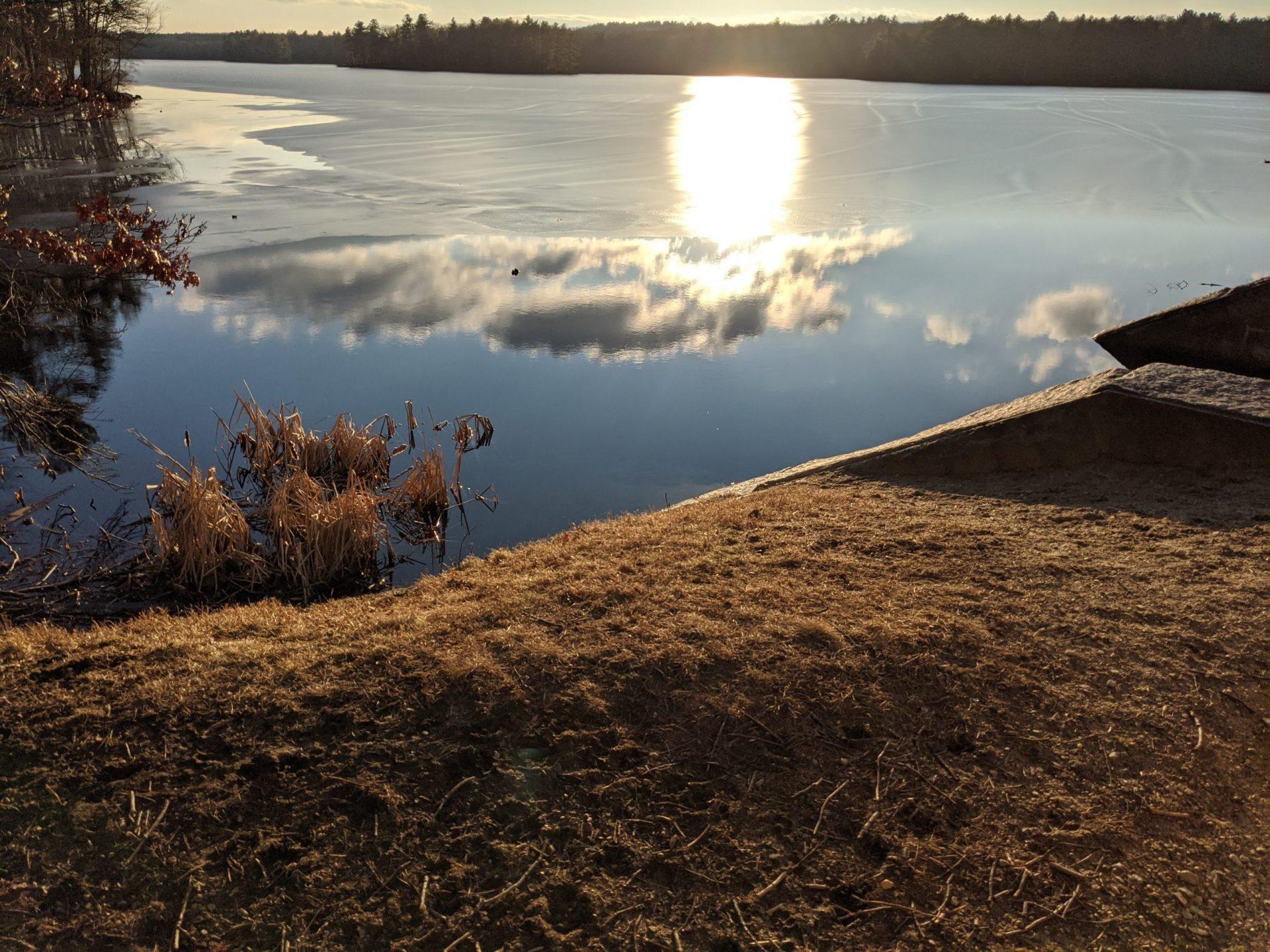 Sunset over melting ice February 2020
