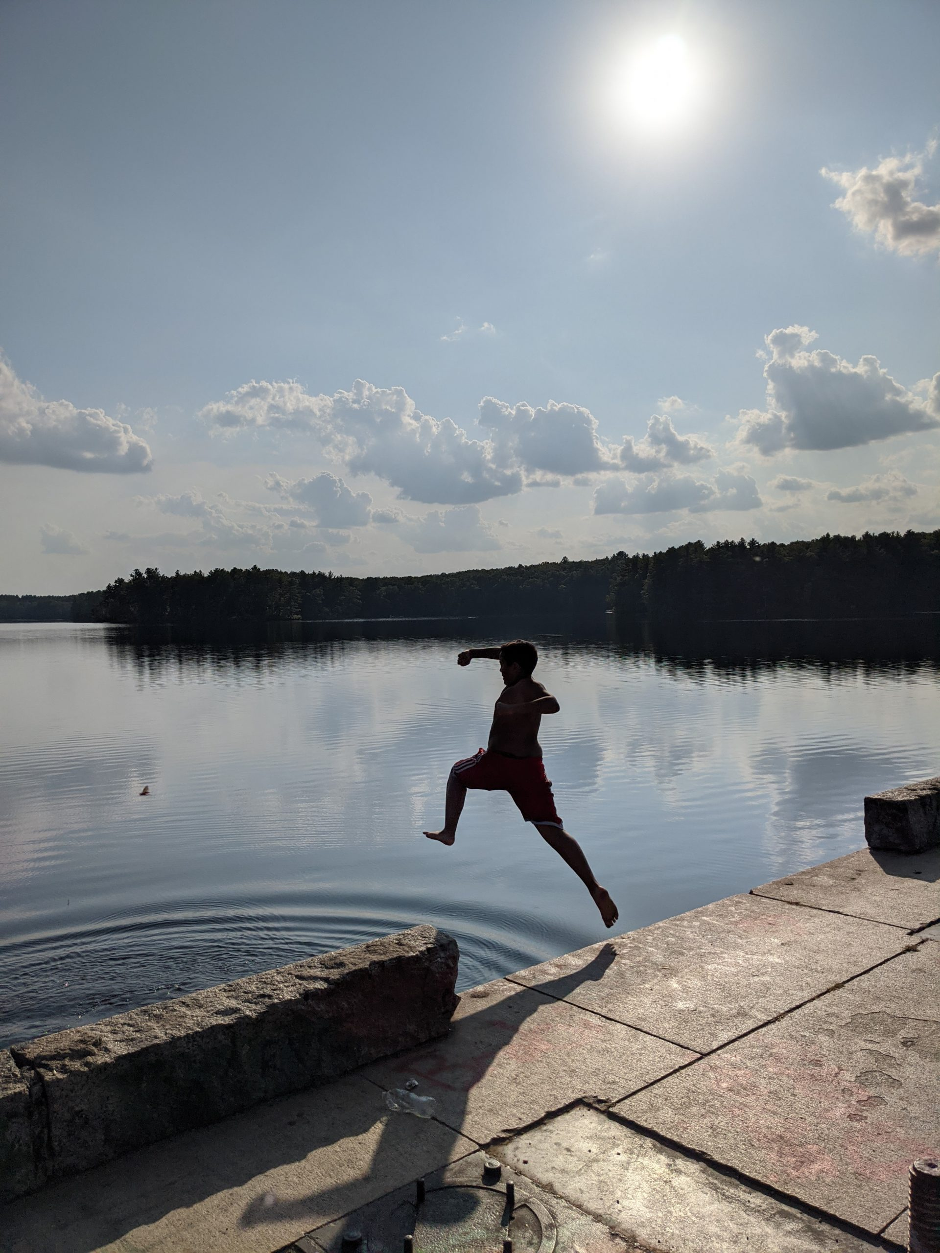 Jumping into the lake - September 2020