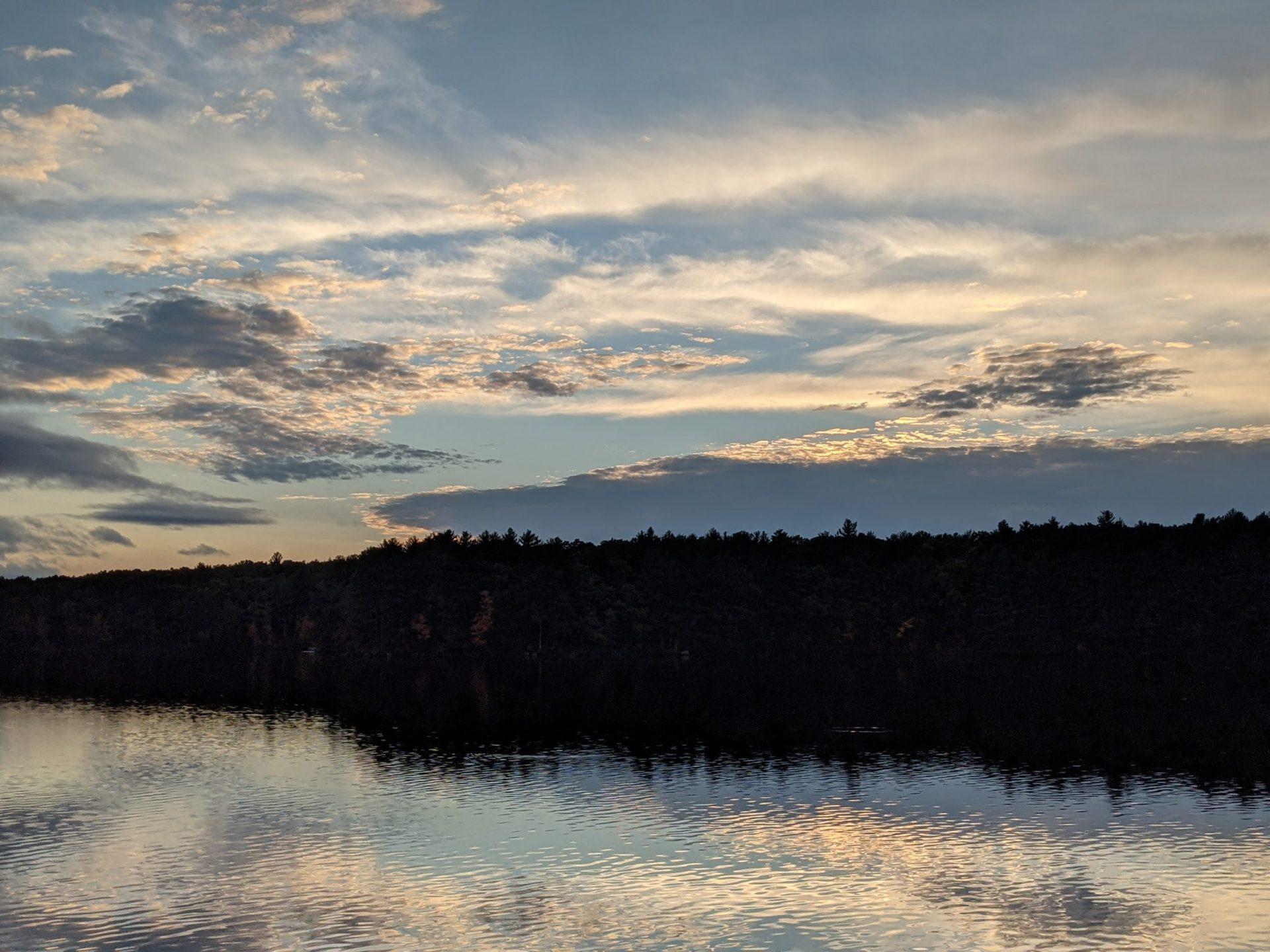 Fall sunset reflected in Ashland Reservoir