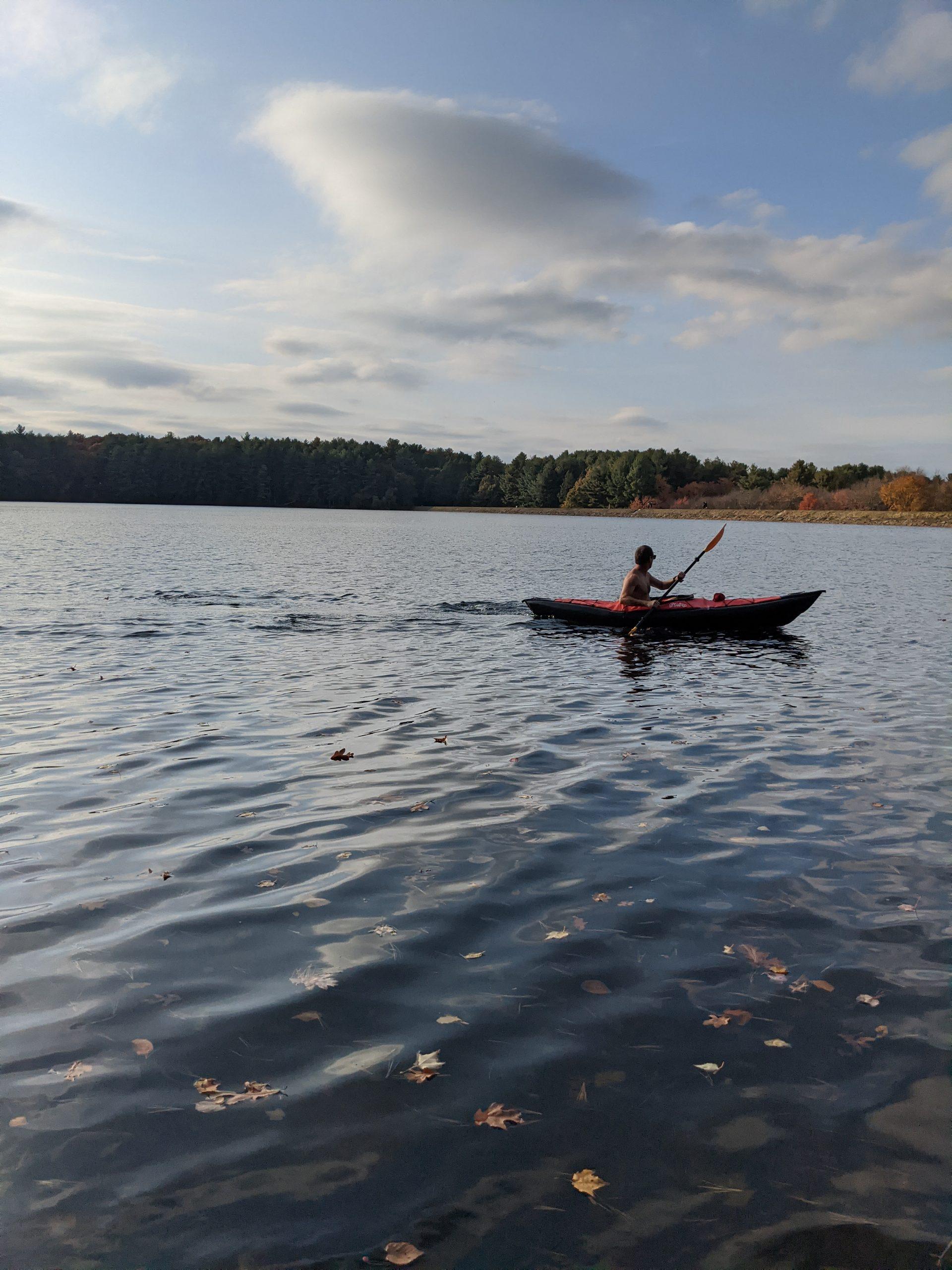 Kayaker on Ashland Reservoir October 2020