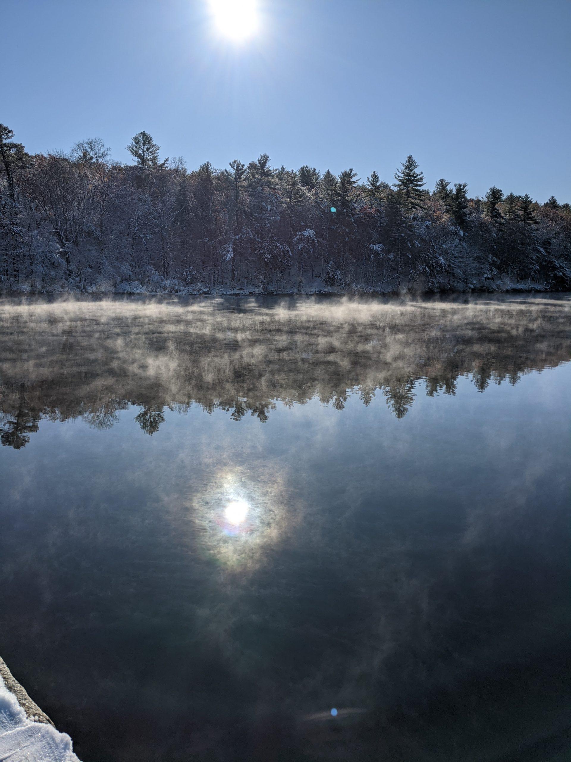 Steam rising from Ashland Reservoir - morning - Halloween 2020