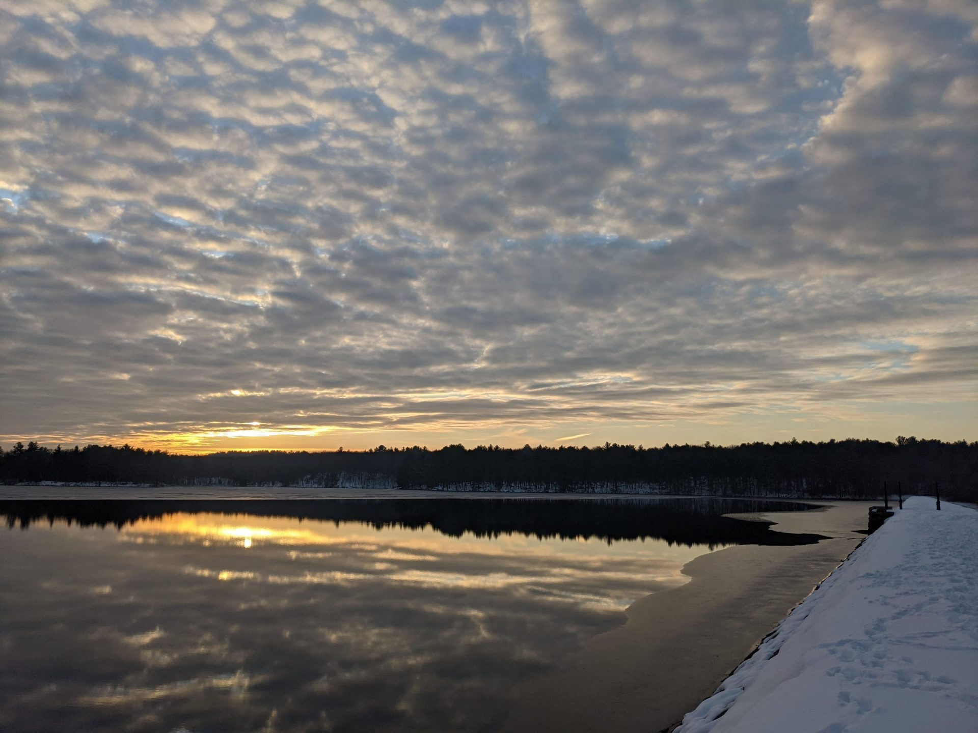 Sunset and clouds reflected in reservoir - December 2020 - Ashland State Park