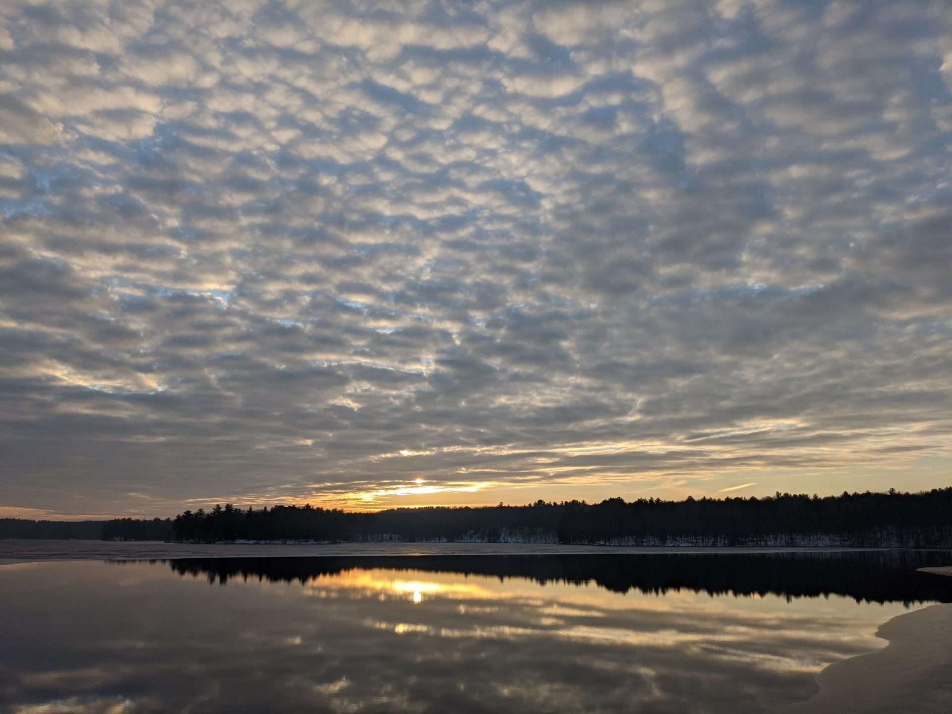 Sunset Reflection on Ashland Reservoir Ice December 21, 2020